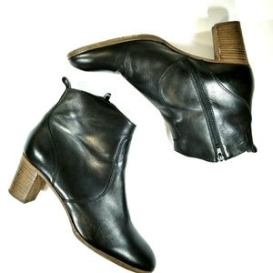 J.Crew Black Leather Ankle Boots